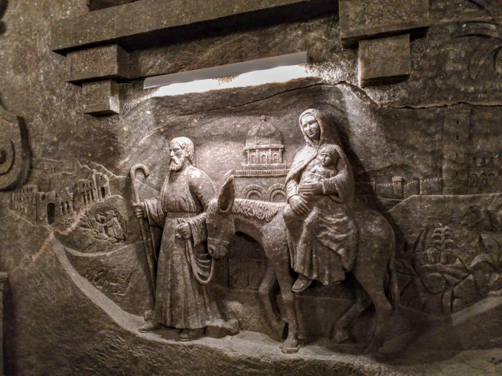 The Nativity scene carved from salt.