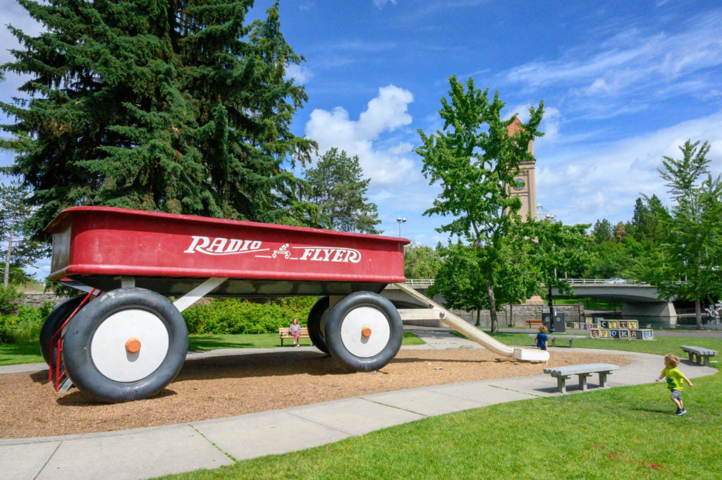 The Big Red Wagon in Spokane's Riverfront Park