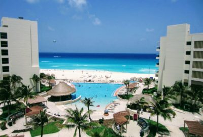 Hotel view of the beach in Cancun Mexico