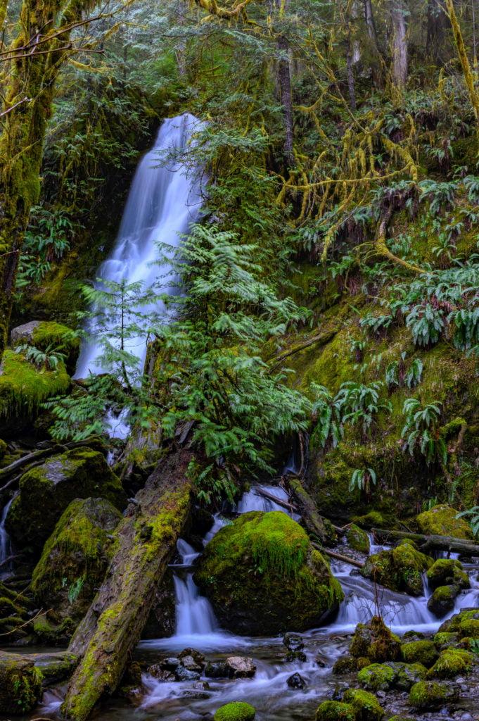 View of multiple waterfalls