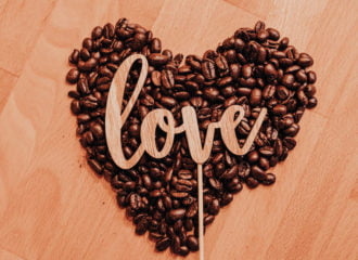 love heart coffee beans