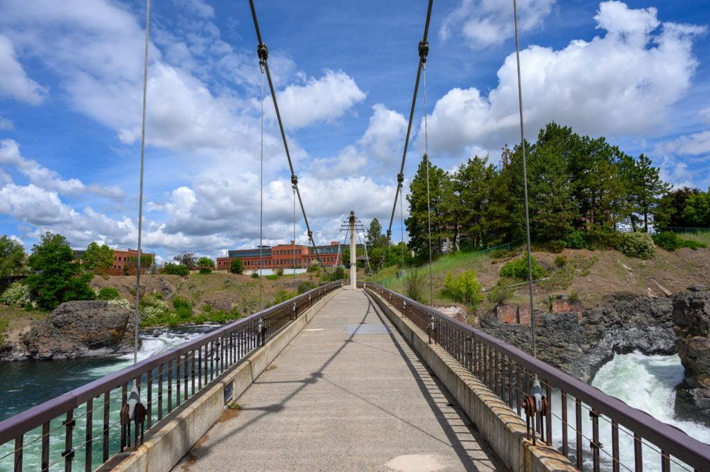 A Suspension bridge across the Spokane River