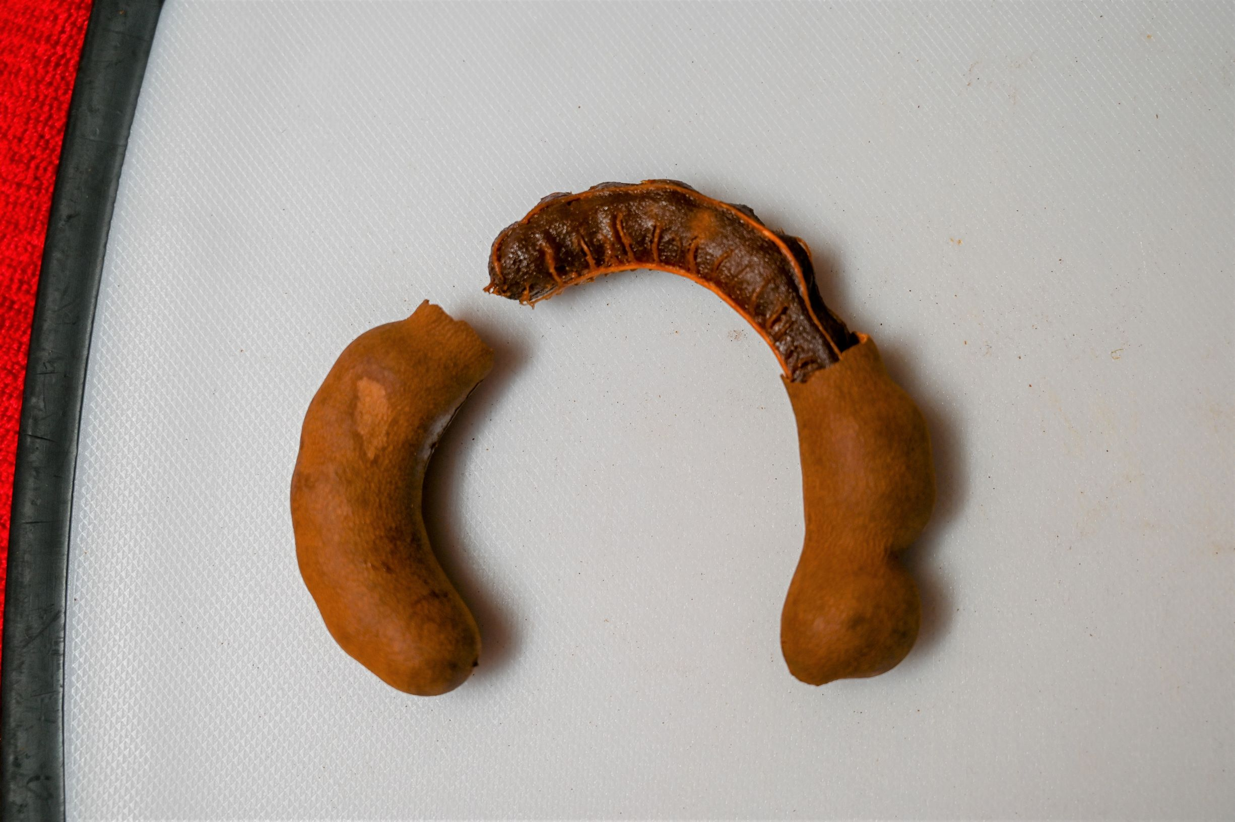 A partly shelled tamarind.