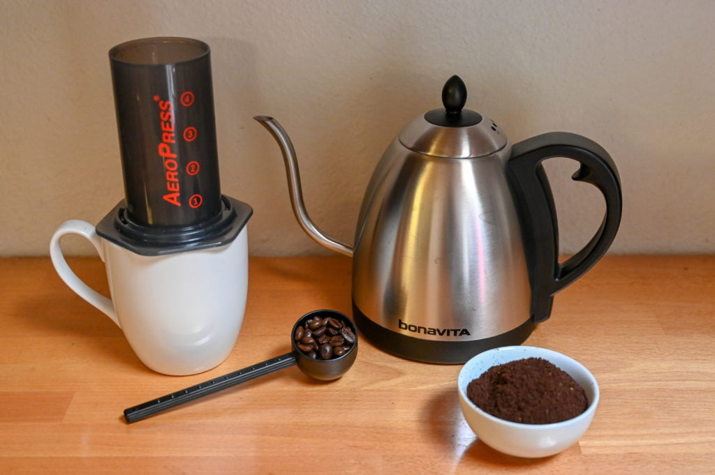 AeroPress single-serve coffee and hot water kettle