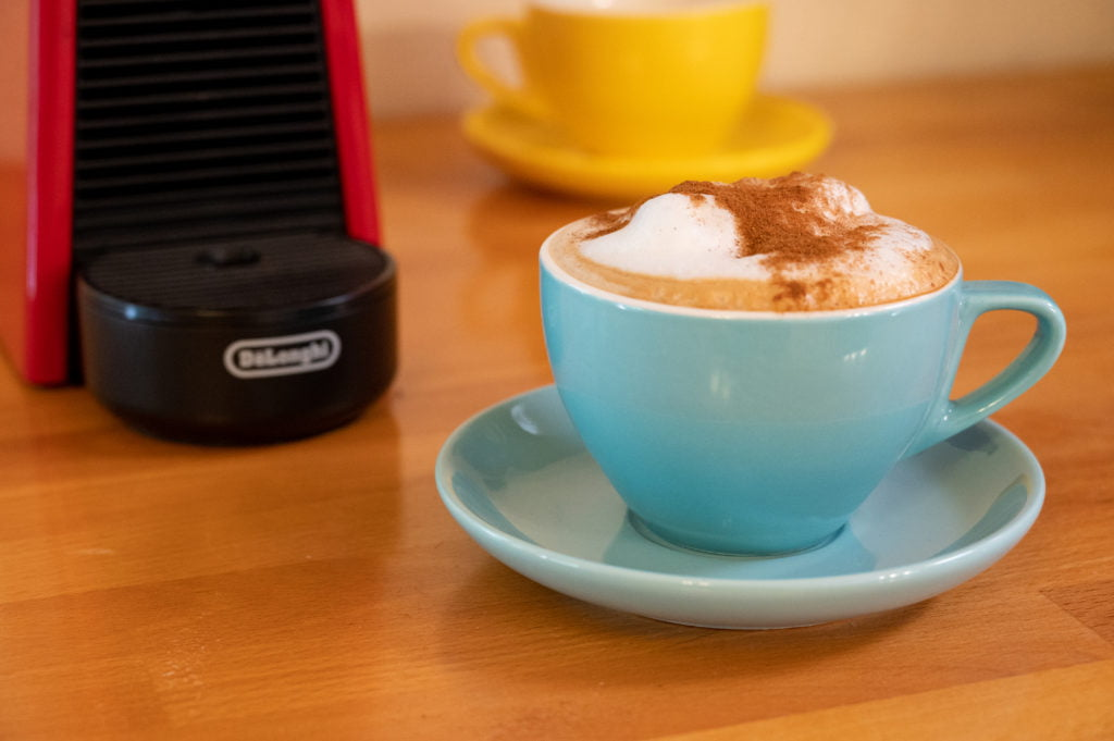 Cappuccino in blue cup