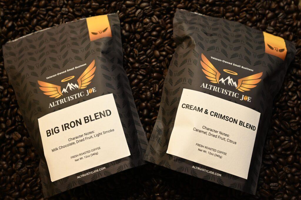 two bags of Altruistic Joe coffee