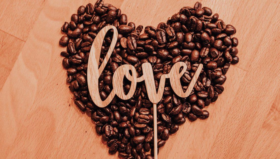 love heart coffee beans