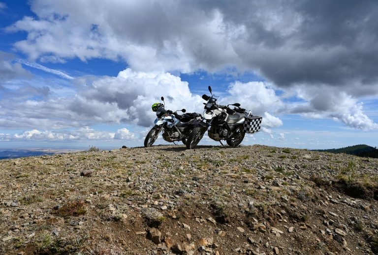 two dual sport motorcycles on Chumstick Mountain